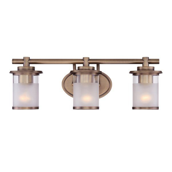 Hallway Illuminate your powder room with this vanity light. Made of metal, this fixture features an oval back plate and a clean-lined rod that stretches 23 inches wide to spread out its three lights. Cylindrical glass shades in clear and sand tones with metal rims round out this design. This piece is offered in a variety of finishes to ensure it suits the style of your space perfectly. The manufacturer provides a one-year limited warranty.