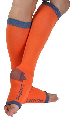 Lace Poet KneeHigh YogaSleep Compression Toeless Socks Orange Medium >>> For more information, visit image link.Note:It is affiliate link to Amazon.