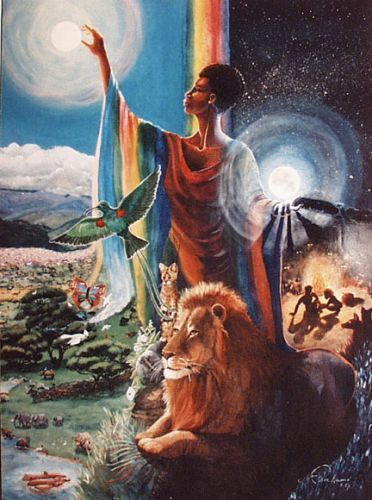 Mujaji's themes are balance, restoration, weather, cleansing and fertility.  Her symbols are rainwater. Mujaji is an African rain Goddess who exudes gently with fertility, or fiercely with cleansing, depending on the need. Her power and presence is so impressive that it led H. Rider Haggard to write the novel She, based on Her cult.