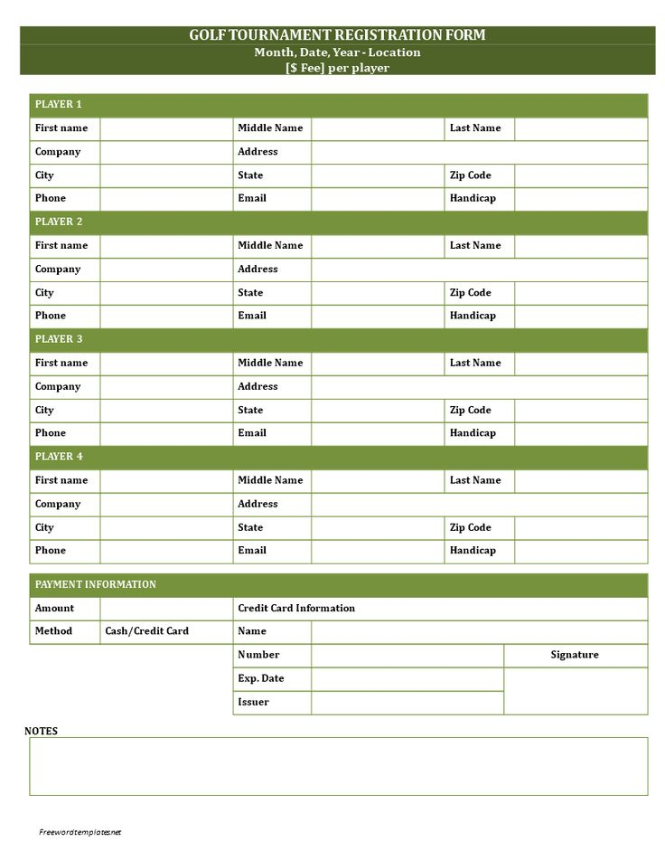 Golf Registration Form - Golf_Registration_Form.docx. Easy to download and use .docx Business template.