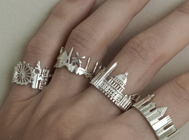 London Skyline Rings - wearable architecture; contemporary jewellery design //  Shapeways