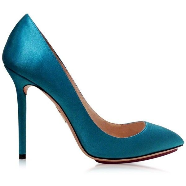 Charlotte Olympia Party Shoes 110 Teal Blue Satin Silk & PVC Pump ($695) ❤ liked on Polyvore featuring shoes, pumps, heels, teal, teal blue shoes, stilettos shoes, high heel stiletto pumps, high heels stilettos and party pumps