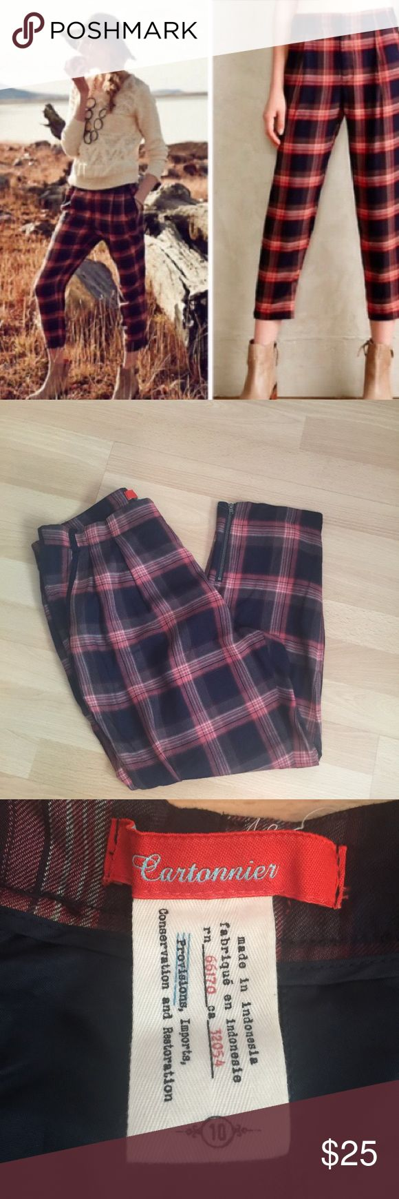 """RARE Anthropologie Cartonnier Tartan Crop Amazing pair of anthro pants! Gently used, only worn a couple times. Minor signs of gentle wear and wash. By combining feminine sensibilities with menswear-inspired materials and contemporary cuts, Cartonnier creates intellectual yet whimsical clothing. Case in point: this so-soft plaid pair, complete with ankle zip details.  Ankle zips Side, back welt pockets Polyester Machine wash Regular: 25.5""""L Anthropologie Pants Ankle & Cropped"""