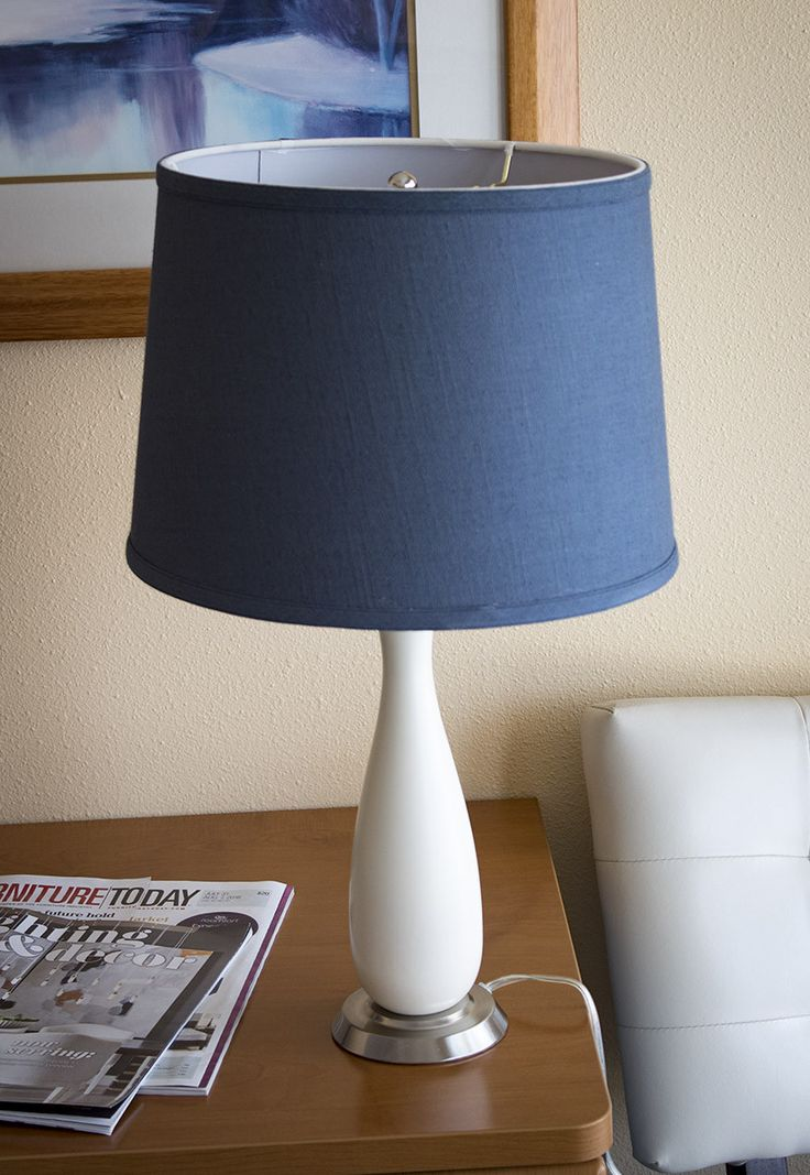 0-000322>Penelope Beige Table Lamp with Navy Blue Drum Shade