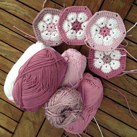 DIY – Virkade afrikanska blommor (hexagoner)