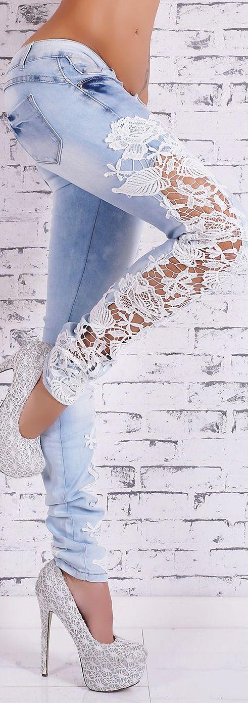 yo elijo coser: DIY: una idea para personalizar un pantalón vaquero con encaje o ganchillo (crochet)