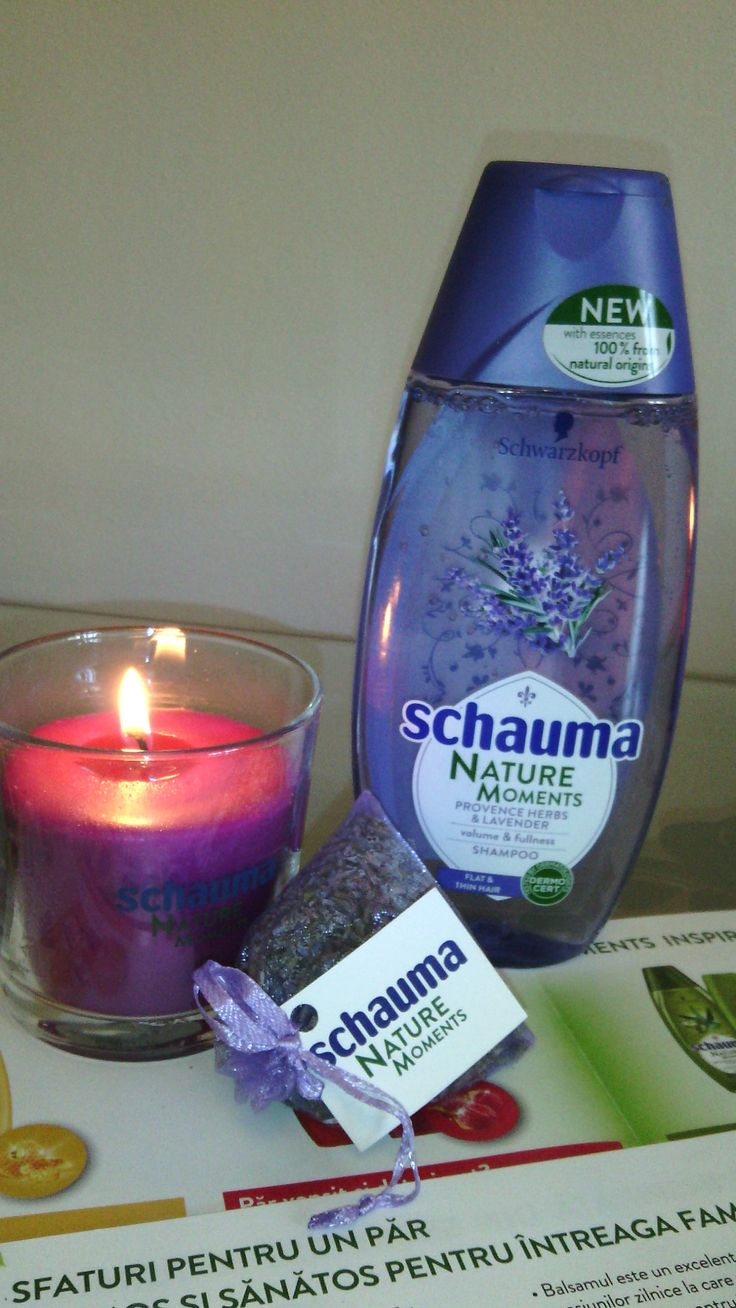 Putina relaxare cu samponul Schauma NATURE MOMENTS PROVENCE HERBS & LAVENDER, lumanarea parfumata (cadou de la BUZZStore si Schwarzkopf) si saculetii de levantica. #buzzschauma #naturemoments