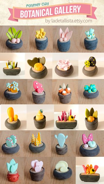 Cute polymer clay miniature plants gallery, by Iratxe Maruri - Galería botánica…