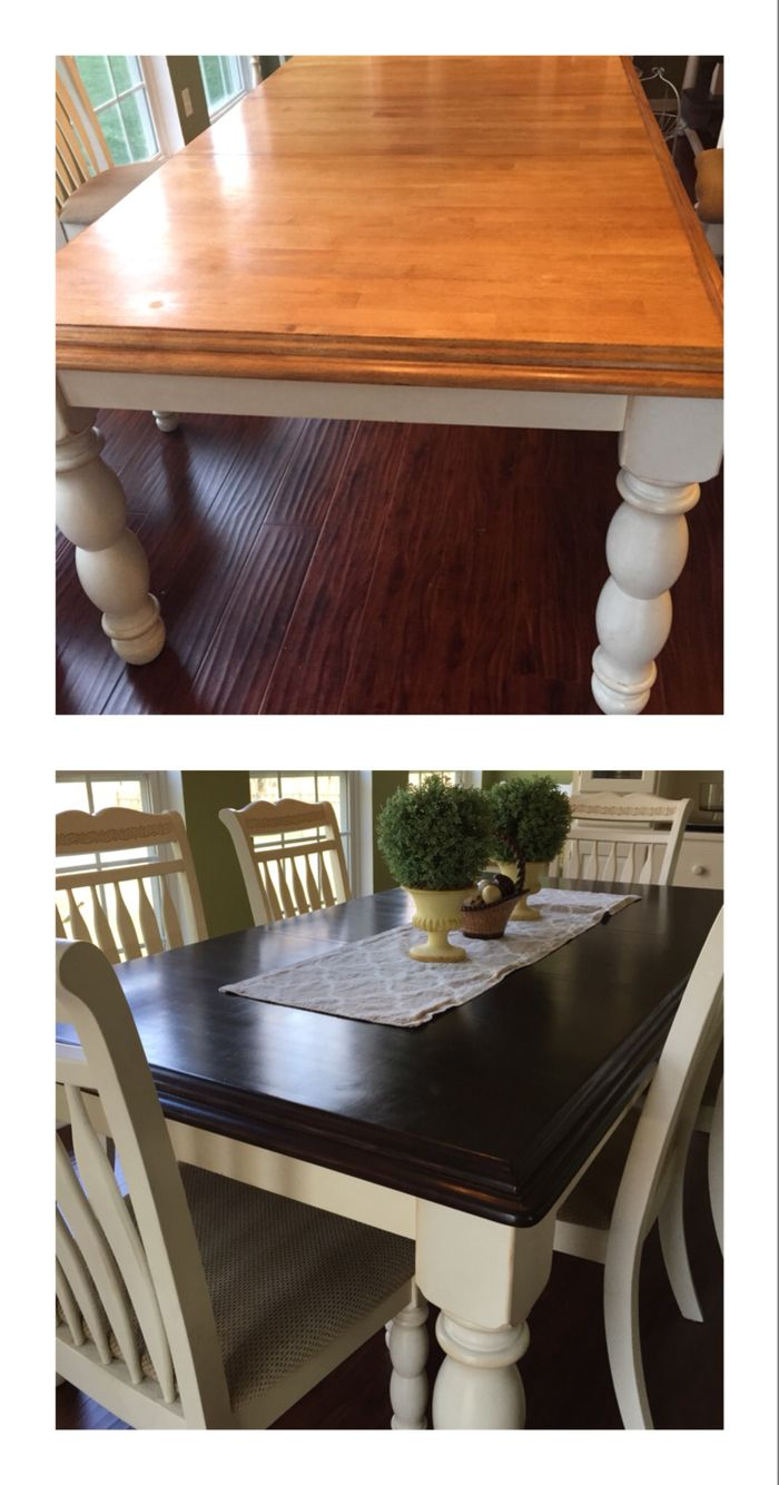 General finishes Java gel stain- our dining room table before and after. 3 coats stain and 3 coats urethane.