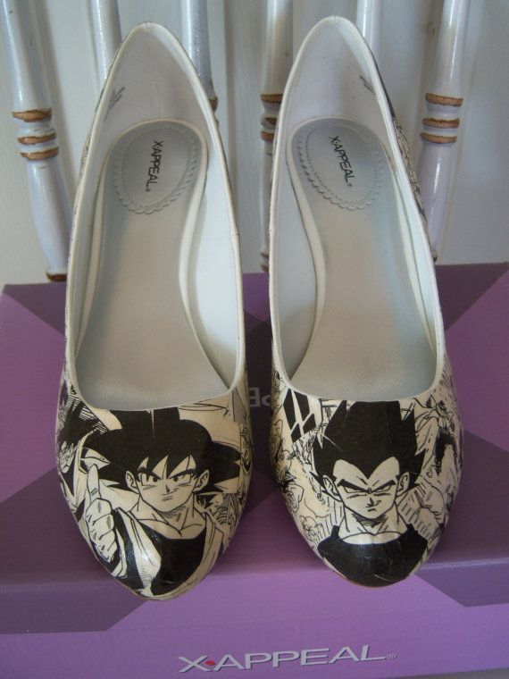 Handmade Decoupaged Dragon Ball Z Heels DBZ Pumps Comic by MadEnvy