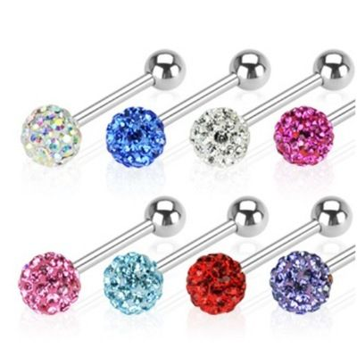 1pc Tongue Piercing Stainless Steel Barbell ball CZ Gem Crystal Jewelry Tongue rings body jewelry piercing langue septum tunnels