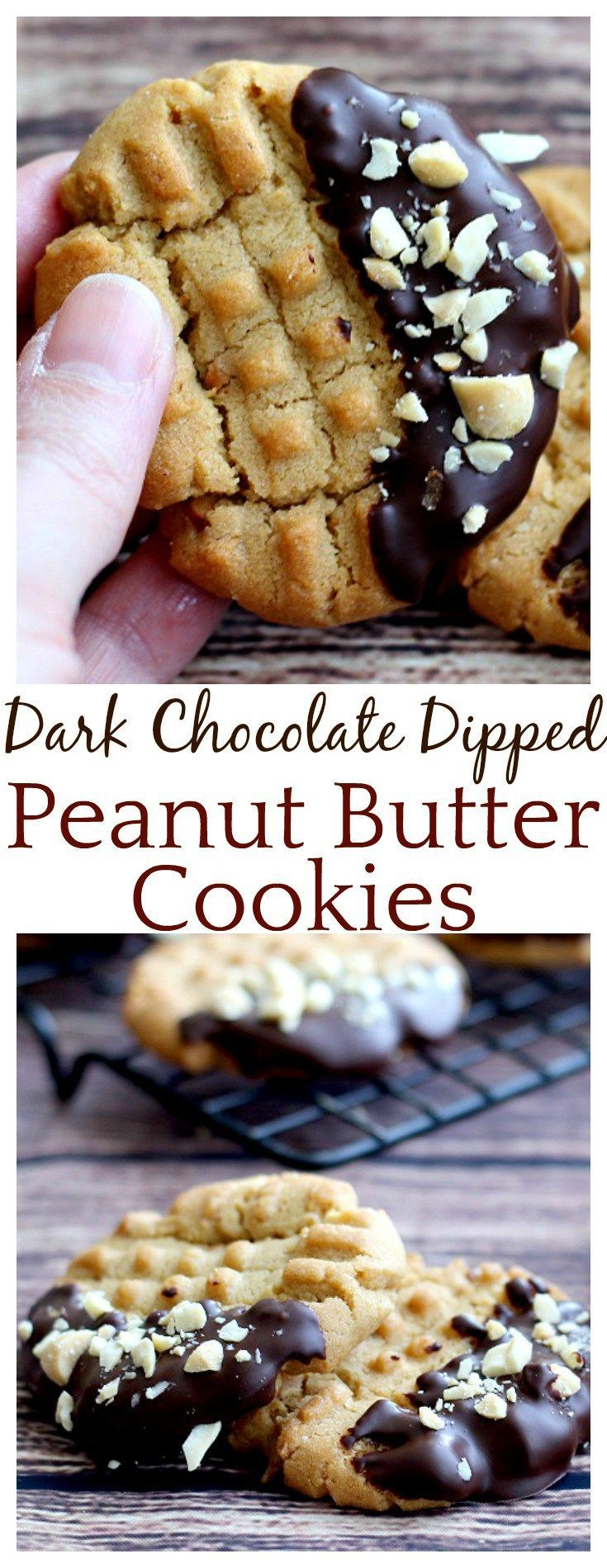The dark chocolate on these Dark Chocolate Dipped Peanut Butter cookies takes a classic peanut butter cookie recipe up a notch! The cookies are crunch and delicious and the dark chocolate is super indulgent! Such an easy recipe!