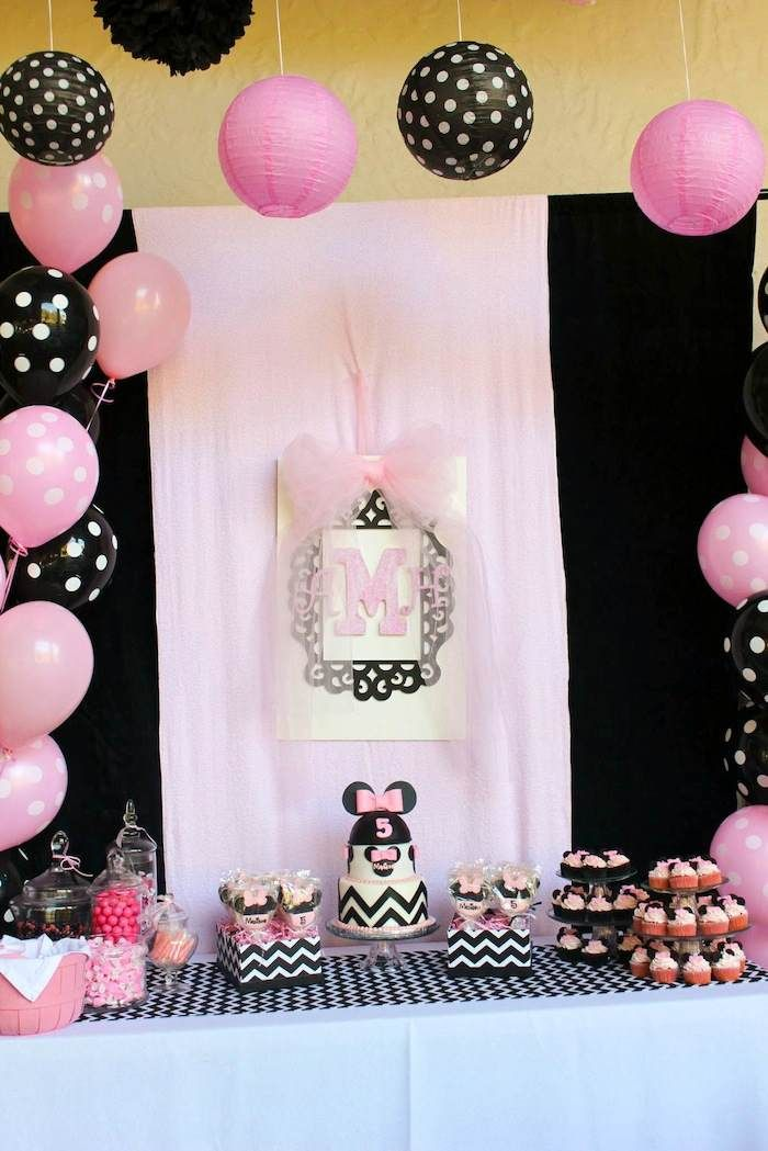 Minnie Mouse themed birthday party with Lots of Really Cute Ideas via Kara's Party Ideas | KarasPartyIdeas.com #minniemouseparty Love the cake with the chevron stripes!