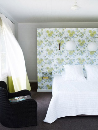 Shannon Fricke's decorating style - Binna Burra house #wallpaper #bedhead
