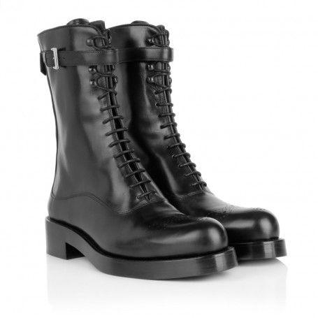 Prada Boots & Booties – Lace-Up Boots Black – in schwarz – Boots & Booties für Damen