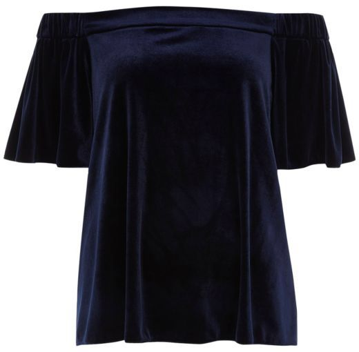 Checkout this Navy blue velvet bardot top from River Island