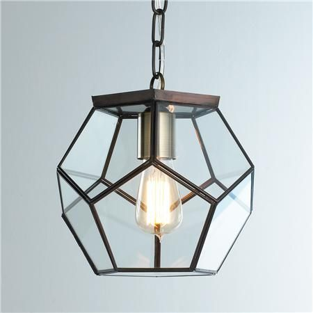 Clear Glass Prism Pentagon Pendant Light - Shades of Light 159.00