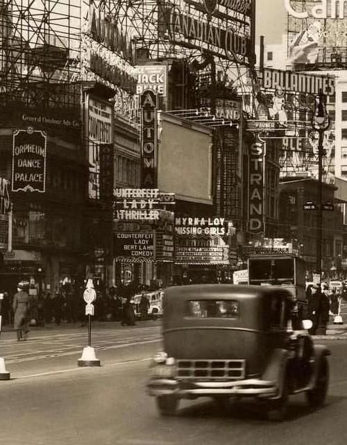1936.. Broadway and 46th Street.. Orpheum Dance Palace.. Globe.. Central.. and old Strand Theatre.. 10-story Lefcourt or Brill Bldg.
