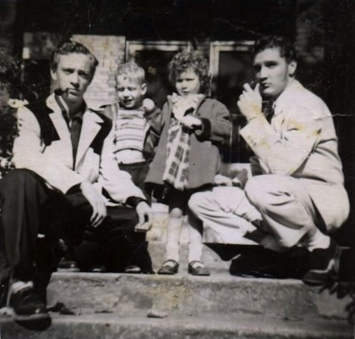 """Elvis is posing with his cousin Gene Smith, David and Debbie Fruchter on 462 Alabama Street in Memphis, TN, circa April 1953. Photo: Jeanette Fruchter. Read more about """"How Elvis Missed His True Calling — As a Cantor!"""" at: http://forward.com/articles/205079/how-elvis-presley-missed-his-true-calling-as-a/"""