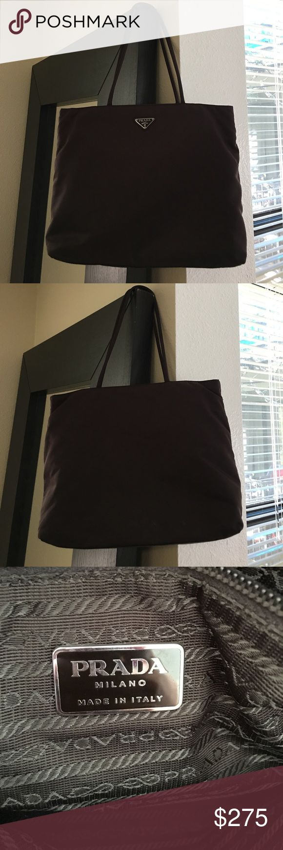 "Authentic Vintage Prada Nylon Tote Bag EUC! Gorgeous authentic Prada bag from the 90's in chocolate brown. 14""W x12""H multiple compartments and lightweight. Prada Bags Totes"