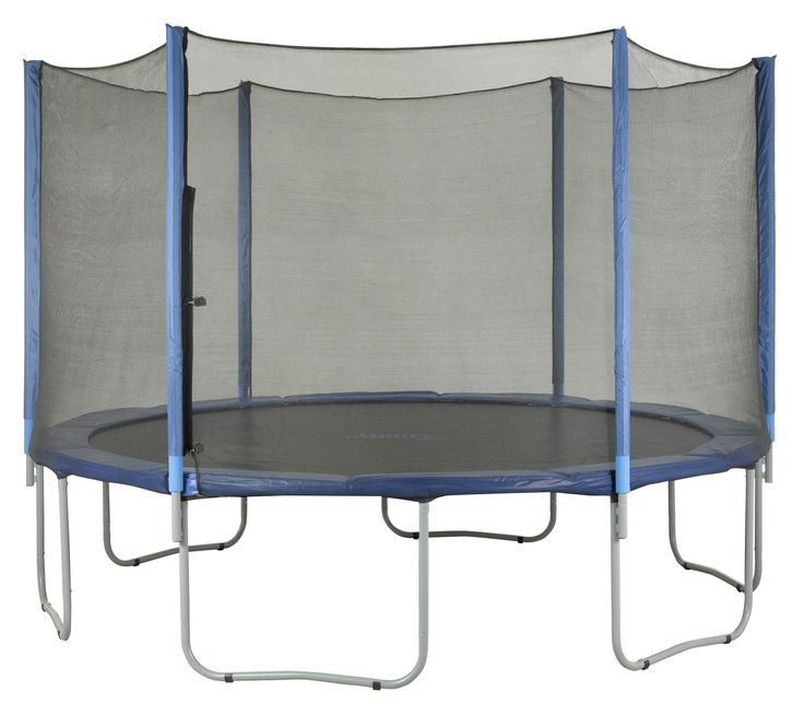Features:  -Trampoline enclosure netting.  -Attaches easy.  -Attaches on outside of the jumping-mat and the pad.  -Dual closure entry with zipper and buckles.  -The entry is located between 2 poles.