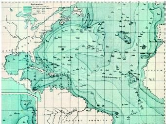 England's Sir John Murray compiled this bathymetric (depth) chart of the North Atlantic in 1911. Murray's chart went far beyond American naval officer Matthew Maury's first attempt at bathymetric mapping in 1855. In addition, Murray's map gave birth to the idea of the Telegraphic Plateau, a submarine land formation from Canada to the British Isles, across which the first transatlantic cable was laid.