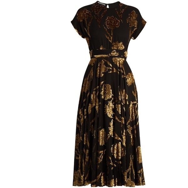 Rochas Floral fil-coupé crepon midi dress ($5,413) ❤ liked on Polyvore featuring dresses, cocktail dress, rochas, vestidos, black gold, floral cocktail dresses, evening dresses, holiday dresses, floral dresses and midi evening dresses