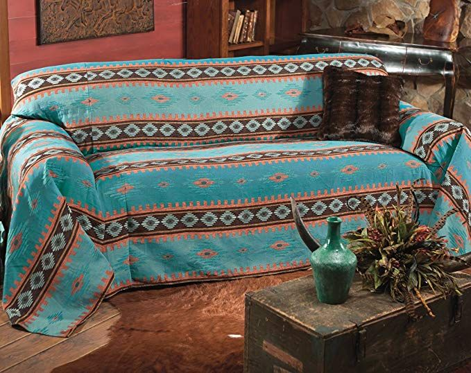 Black Forest Decor Skystone Turquoise Southwestern Sofa Cover