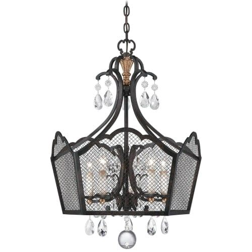Metropolitan N7111 5 Light 24 Wide 1 Tier Cage Chandelier from the Cortona Collection, French Bronze With Gold Highlights