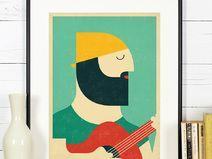 Retro Poster Druck, Gitarrenspieler, Musiker