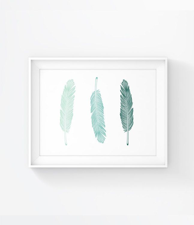 Feather Art, Mint Feather, Green Feather, Printable Art, Wall Prints, Feather Print,Mint Artwork, Wall Decor 034 - pinned by pin4etsy.com