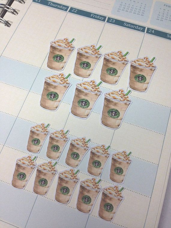 Starbucks Frappe Planner Stickers Set by JULYDESIGNXO on Etsy