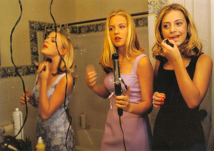Annie, Hannah, and Alli, all 13, get ready for the first big party of the seventh grade Edina, Minnesota