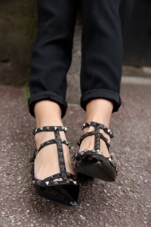 Valentino Noir Rockstud Leather Flats #Shoes
