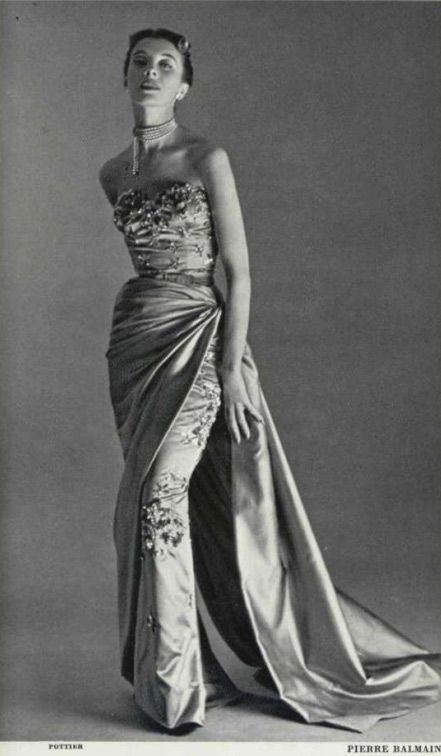 Pierre Balmain beaded silk satin gown with train 1952