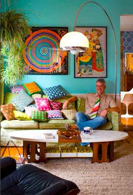 Funky lounge room with colourful cushions-nice!