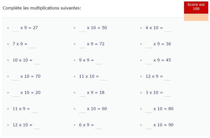Les 55 meilleures images du tableau multiplication for Revision table multiplication