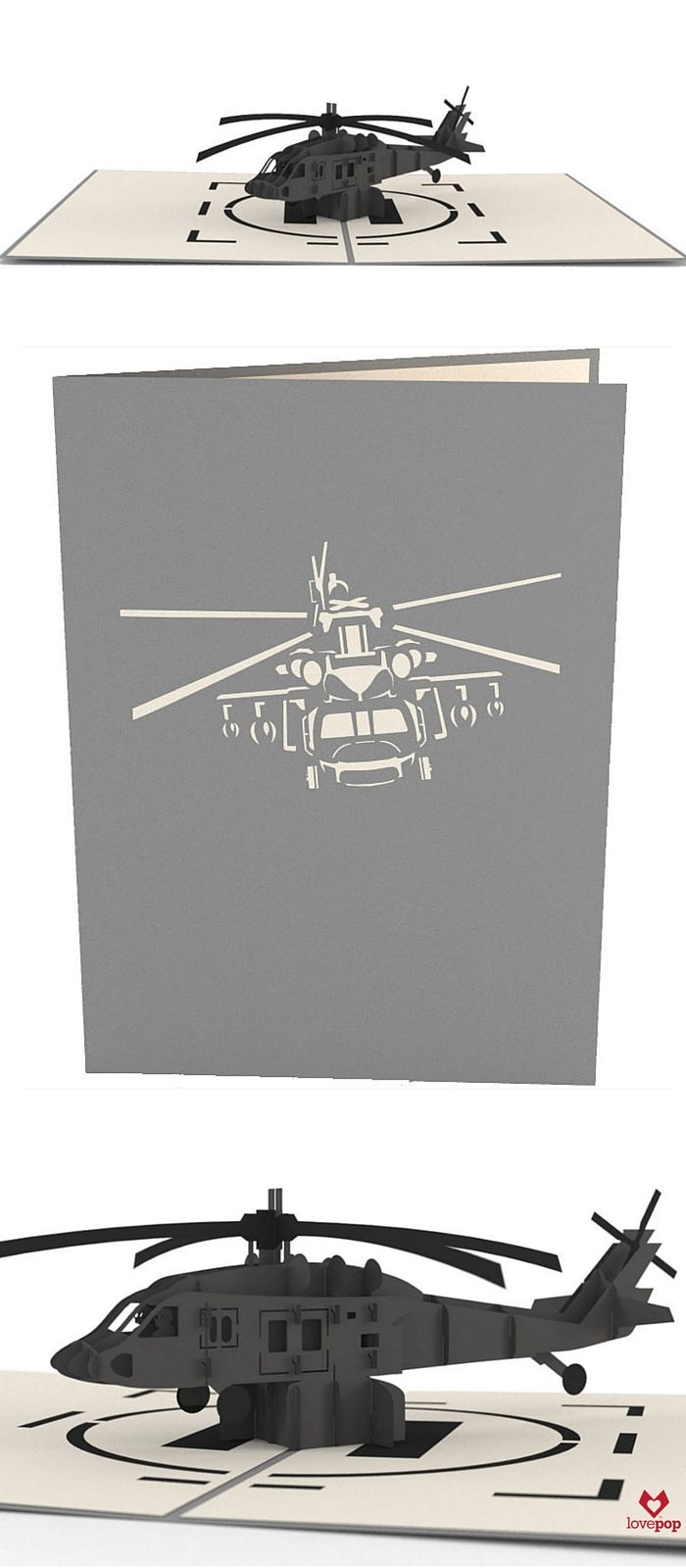 Gift this pop up paper art Black Hawk greeting card to your favorite soldier or history buff for any occasion. #helicopter