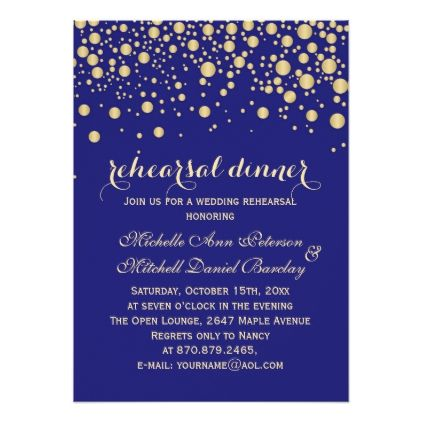 Gold confetti on midnight blue Rehearsal Dinner Card - wedding invitations diy cyo special idea personalize card