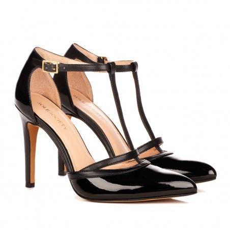 Black T-strap heels - Nicola