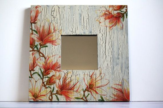 Magnolia decoupage mirror home decor living room by CatHot on Etsy, $30.00
