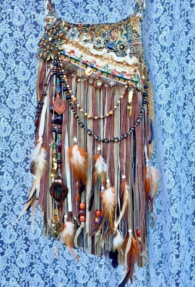 Handmade Hippie Bag Suede Leather Fringe Boho Gypsy Tribal Bohemian Purse B.Joy | eBay