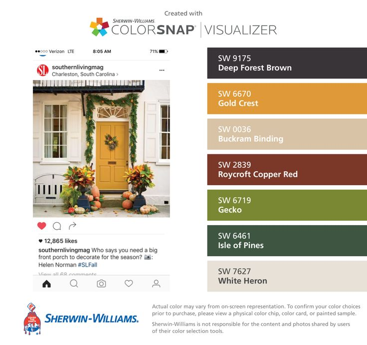 I found these colors with ColorSnap® Visualizer for iPhone by Sherwin-Williams: Deep Forest Brown (SW 9175), Gold Crest (SW 6670), Buckram Binding (SW 0036), Roycroft Copper Red (SW 2839), Gecko (SW 6719), Isle of Pines (SW 6461), White Heron (SW 7627).