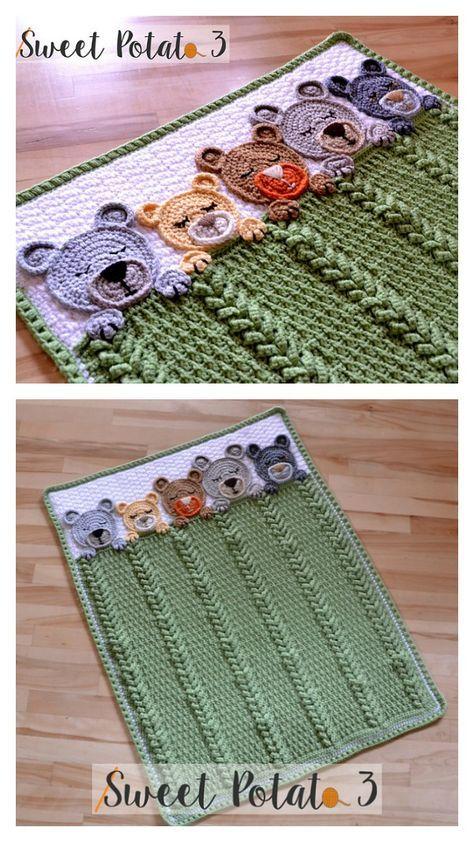 Sleep Tight Teddy Bear Baby Blanket Crochet Pattern