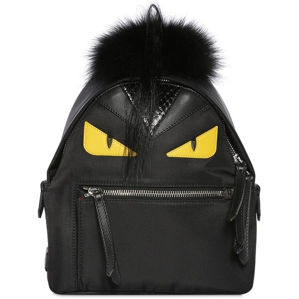 Fendi Women Mini Monster Backpack With Fur featuring polyvore, women's fashion, bags, backpacks, black, mini zip bags, fox backpack, day pack backpack, fox fur bag and fendi bags