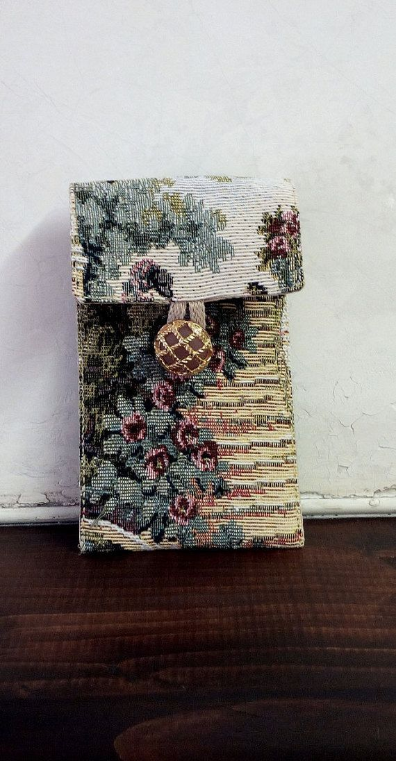 Case tapestry fabric eyeglass case pencil case with button  lanyard .