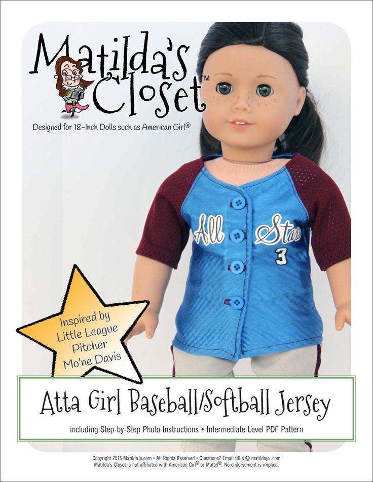 "Atta Girl Baseball / Softball Jersey 18"" Doll Clothes"