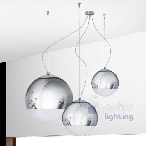 Lampadario-moderno-acciaio-cromo-cristallo-lampada-sospensione-salone-cucina