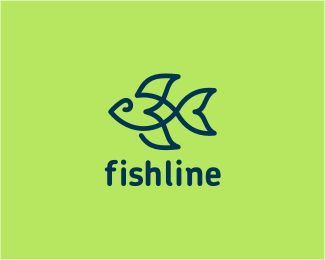 #12 this logo uses one continuous line to create the outline of a fish. it describes the brand, fish line perfectly because the fish is a line. a gestalt is created by the line not connecting all the way around. the viewers eye still sees a fish.