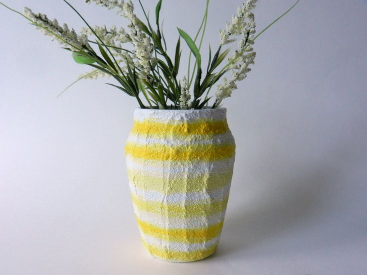 Striped Yellow Vase / small taper vase / by CarriageOakCottage, $18.00